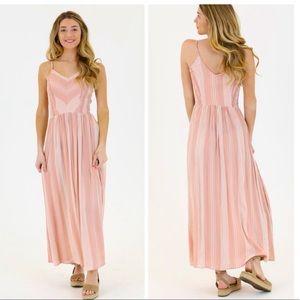 Pink Boho Striped Maxi Dress